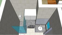 3D banheiro e nicho para máquina de lavar