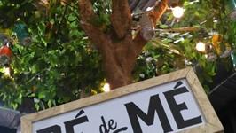 """A sensação desse ano foi o """"pé de mé"""", árvore cenográfica com as latinhas como frutas no pé."""