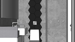 3D - Vista da bacia sanitária