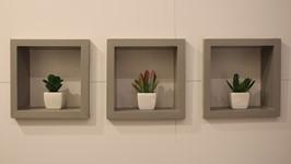detalhe dos nichos para adornos na parede