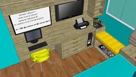 3D bancada de trabalho e banco