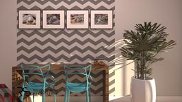 Quadros com fotografias da cliente e console separado emoldurados pelo papel de parede.